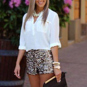 Zara gold sequence shorts size M